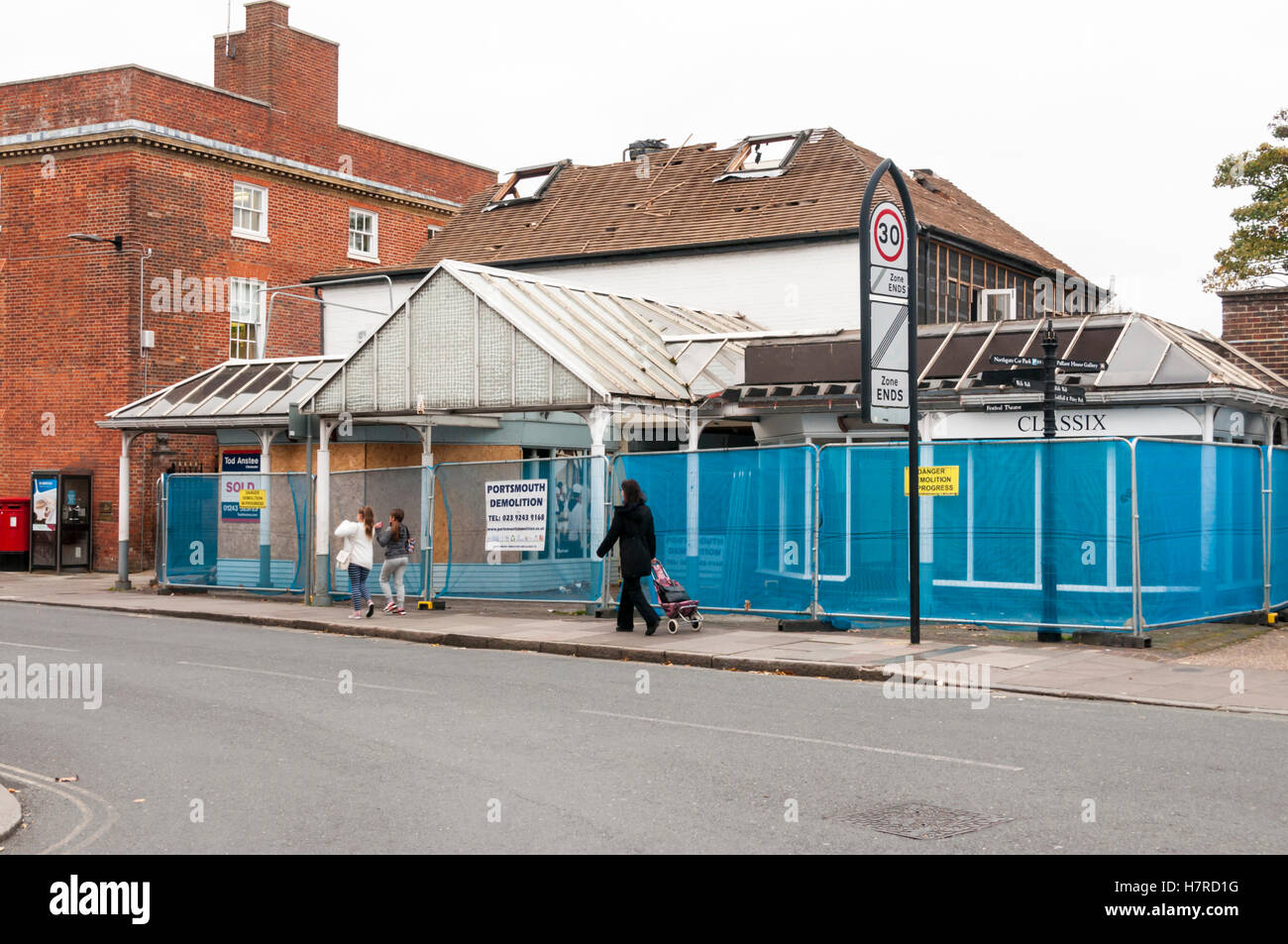 The Chichester Boardwalk shopping arcade is being demolished and replaced with new houses, flats and shops. - Stock Image