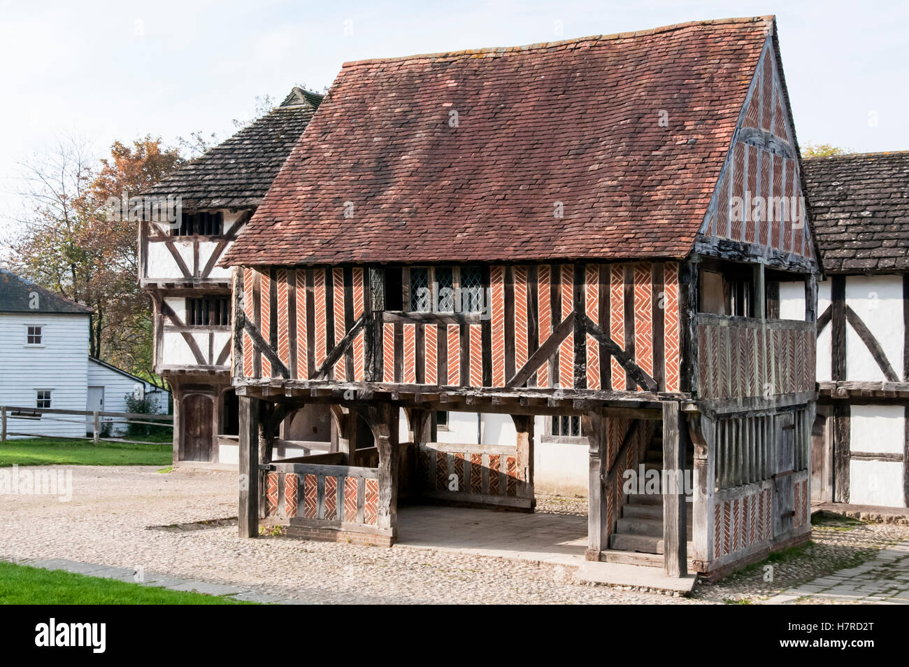 Titchfield Market Hall relocated and reconstructed at the Weald and Downland Open Air Museum in Singleton, West - Stock Image