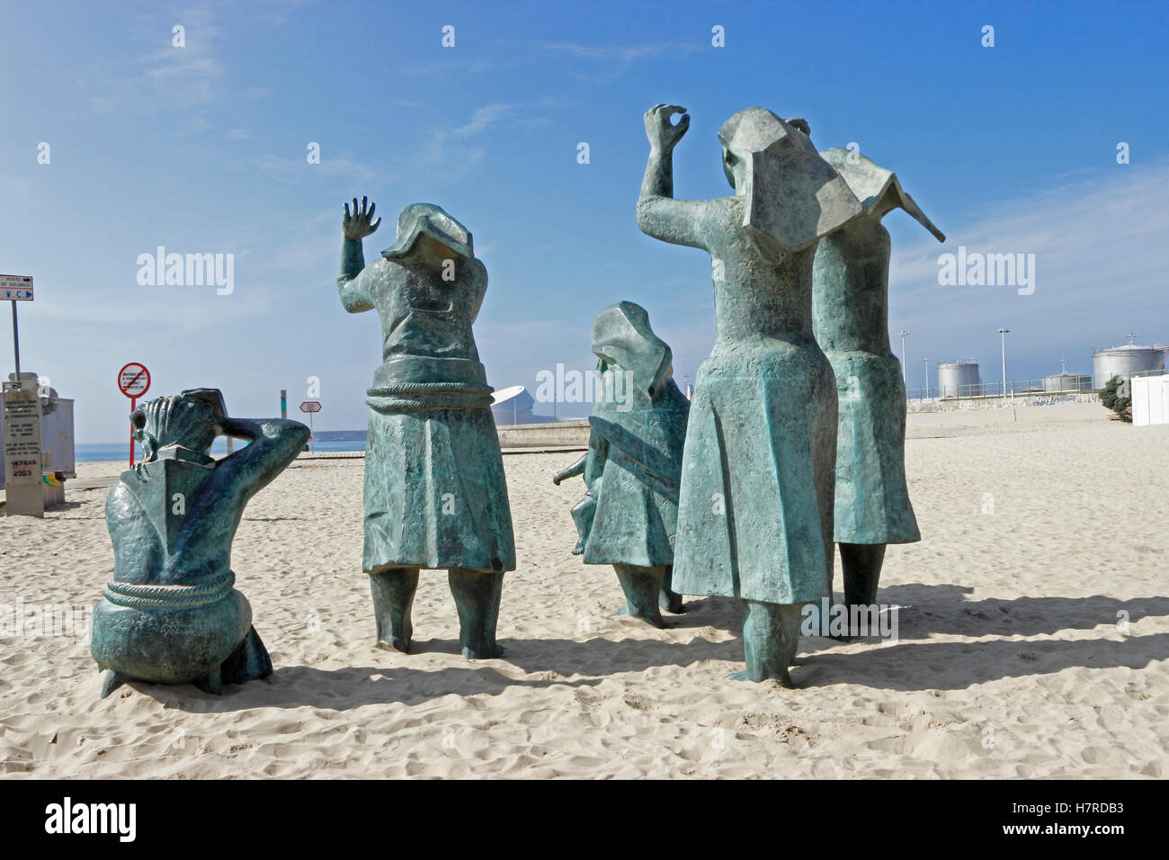 Matosinhos Sul or the Wailing Women on the beach at Leixoes, Porto, Portugal Stock Photo