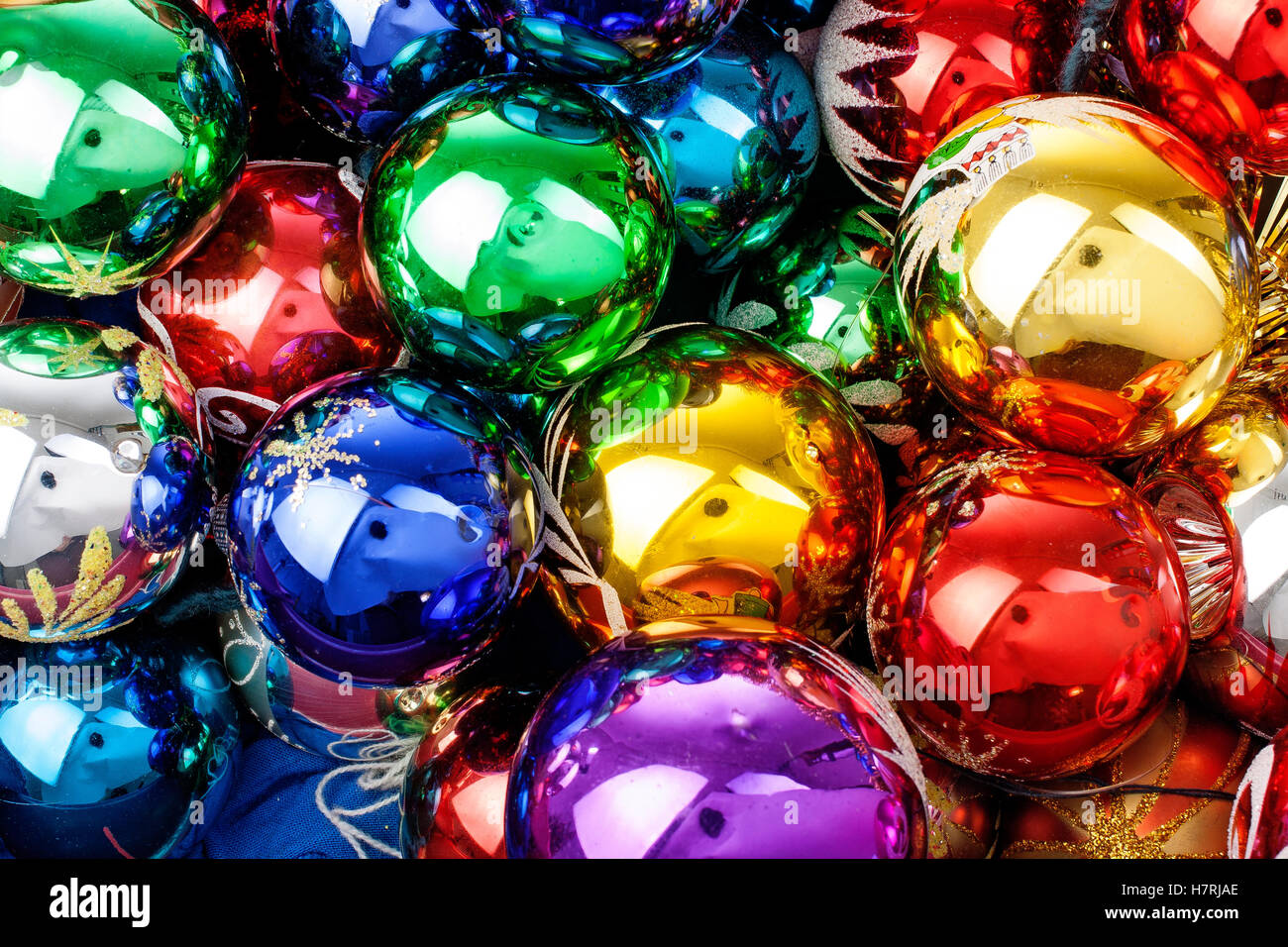 Christmas Ornaments Beautiful Shiny Real Glass Vintage Balls Colorful Eye Catching Brilliant Ball Texture Wallpaper Concept