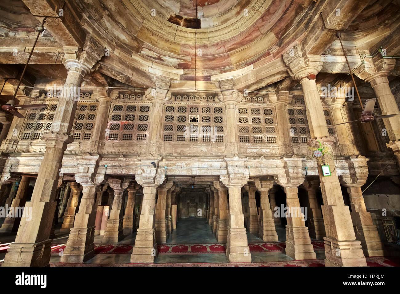 Domed, columned interior of 15th C Jumma Masjid mosque Stock Photo