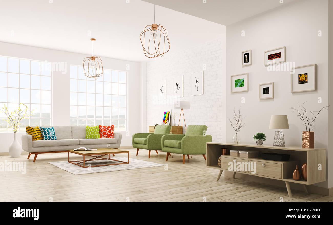 Modern interior of living room with sofa, armchairs, scandinavian ...