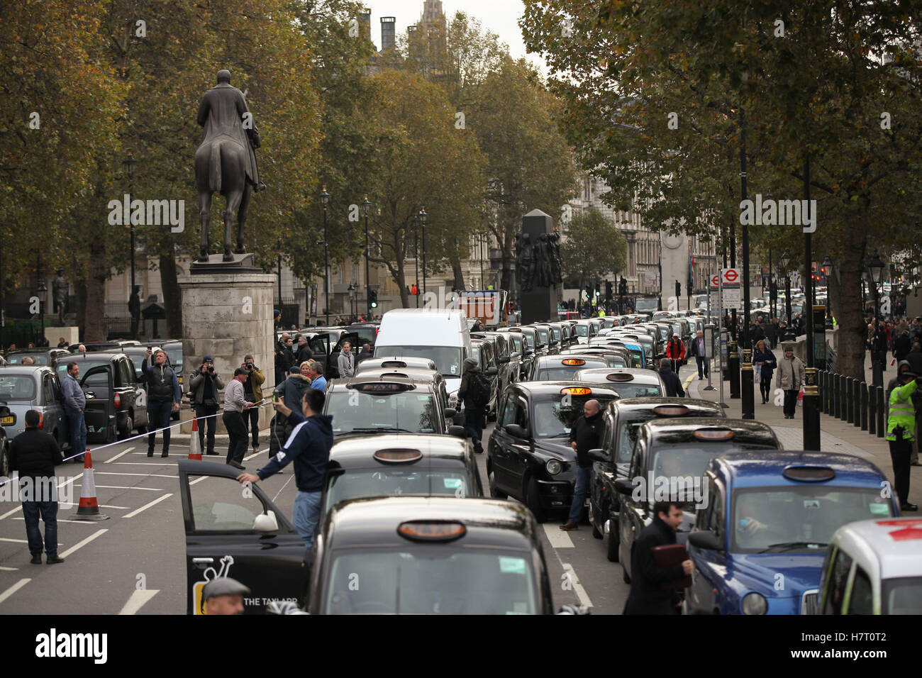 Thousands of London taxi drivers brings Whitehall to a gridlock as they protest in calling for a Public Inquiry Stock Photo