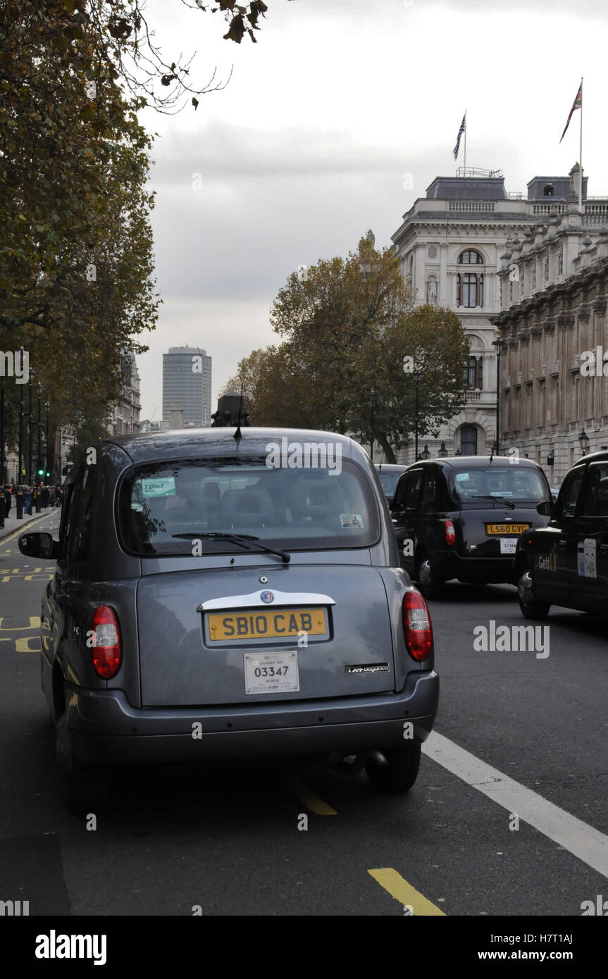 London Cabbies protest against unfair competition from Uber Stock Photo