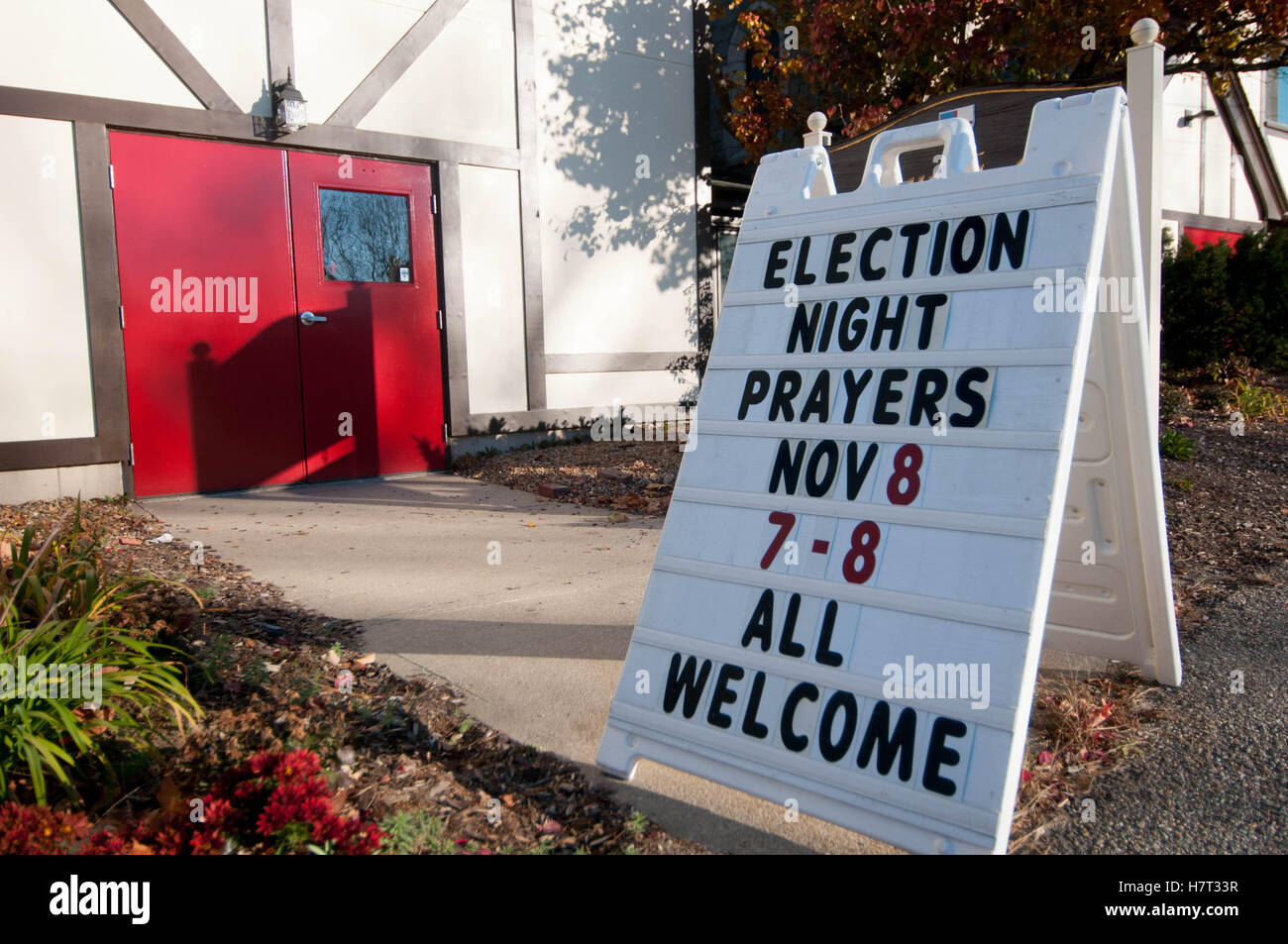 A sign at a church on Election Day, 2016, asking for prayers - Stock Image