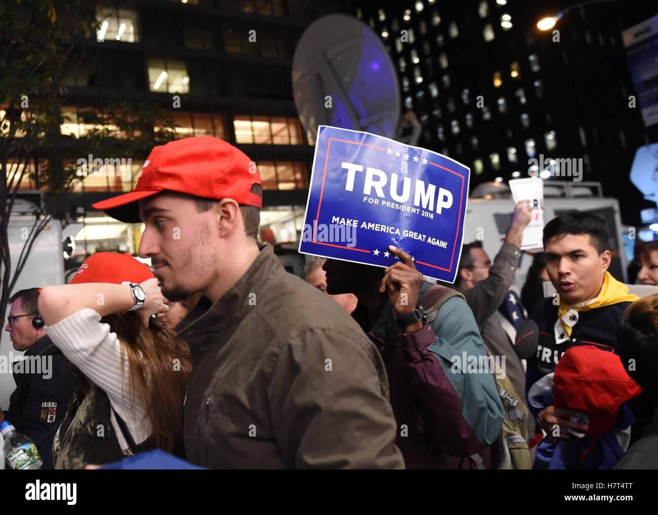 new york usa 8th nov 2016 supporters of u s republican stock