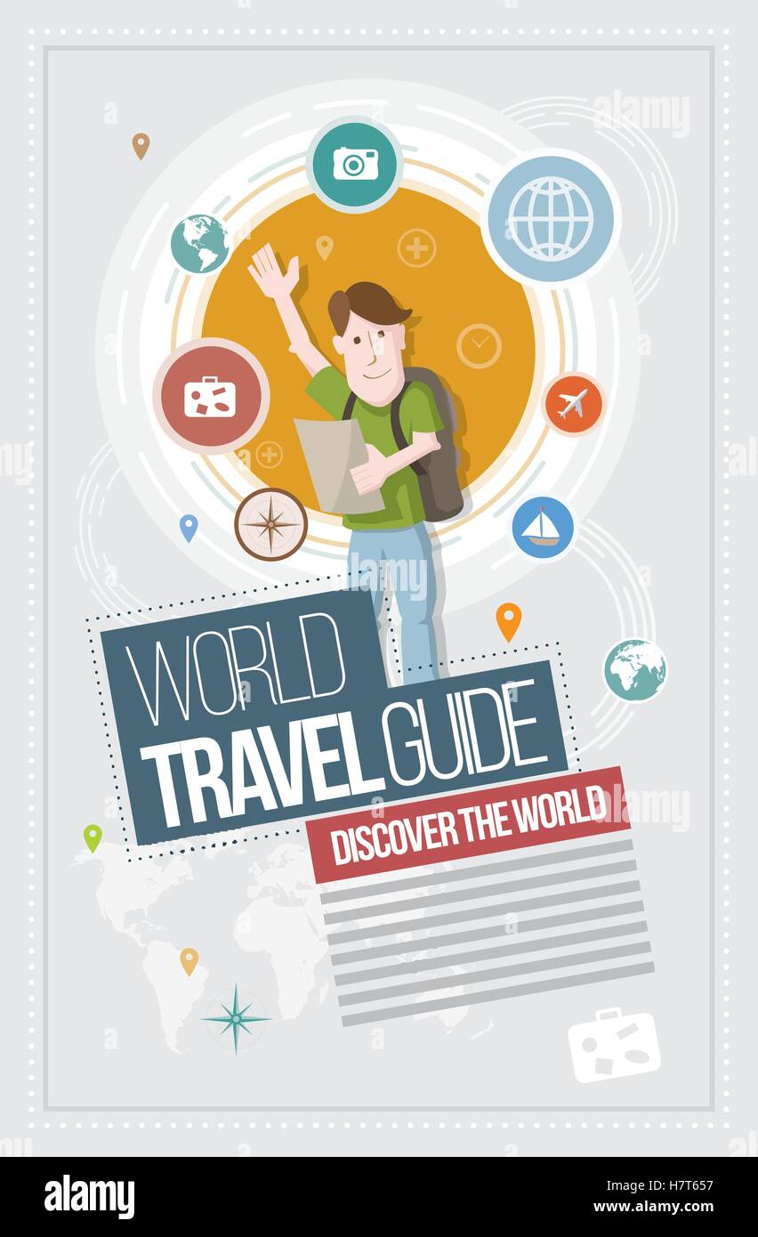 Vector travel concept illustration, icon and layout design. - Stock Image