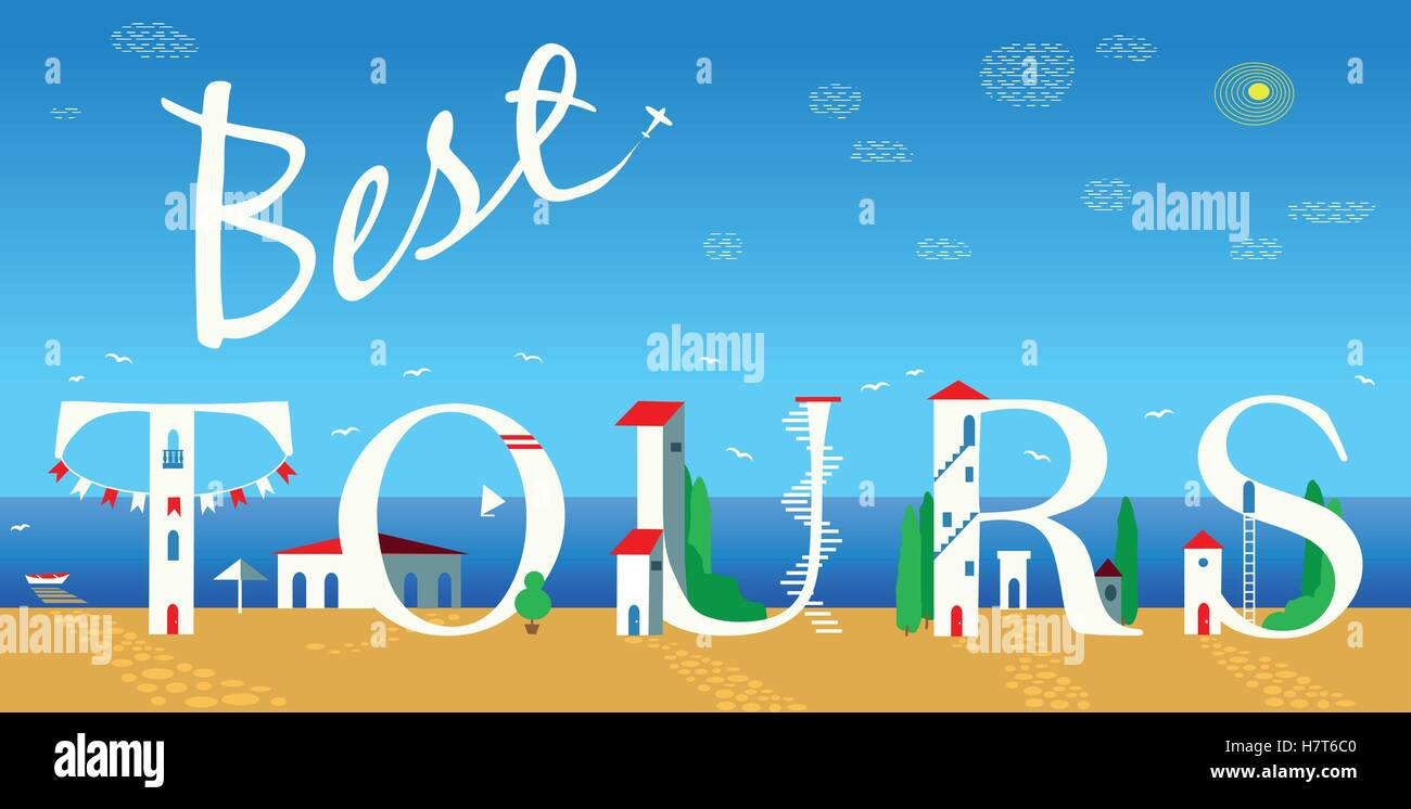 Inscription Best tours. Vector Illustration - Stock Vector