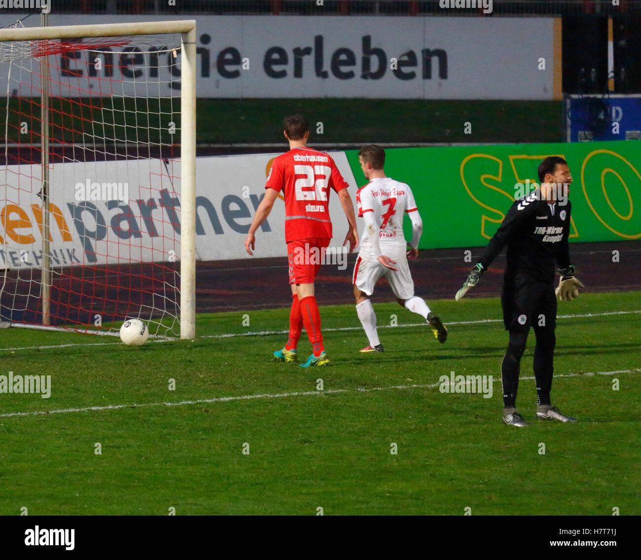 sports, football, Regional League West, 2016/2017, Rot Weiss Oberhausen vs Rot Weiss Essen 2:2, Stadium Niederrhein - Stock Image