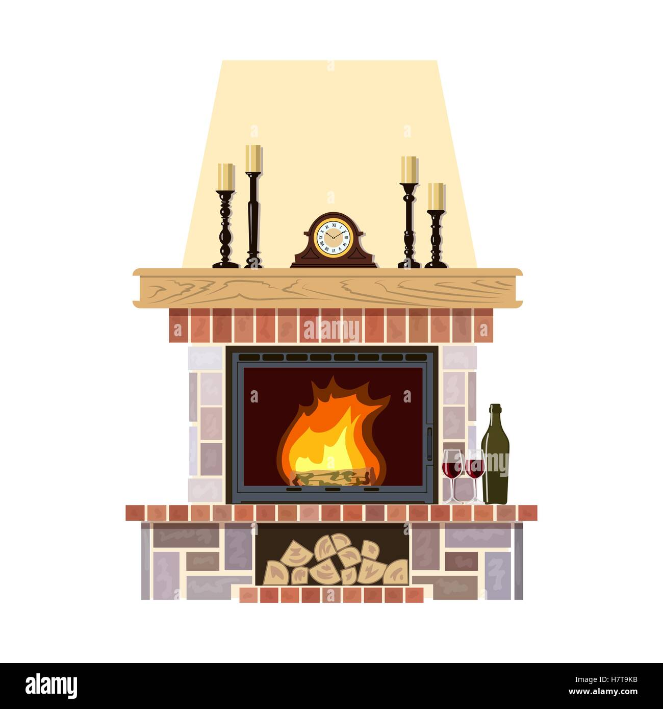 Flaming fireplace in the parlor. Cute and cozy burning hearth with clock, wine bottle and glasses, candlesticks, - Stock Vector
