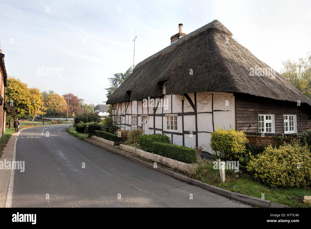 Thatched cottage in the Hampshire village of Kings Somborne, England uk - Stock Image