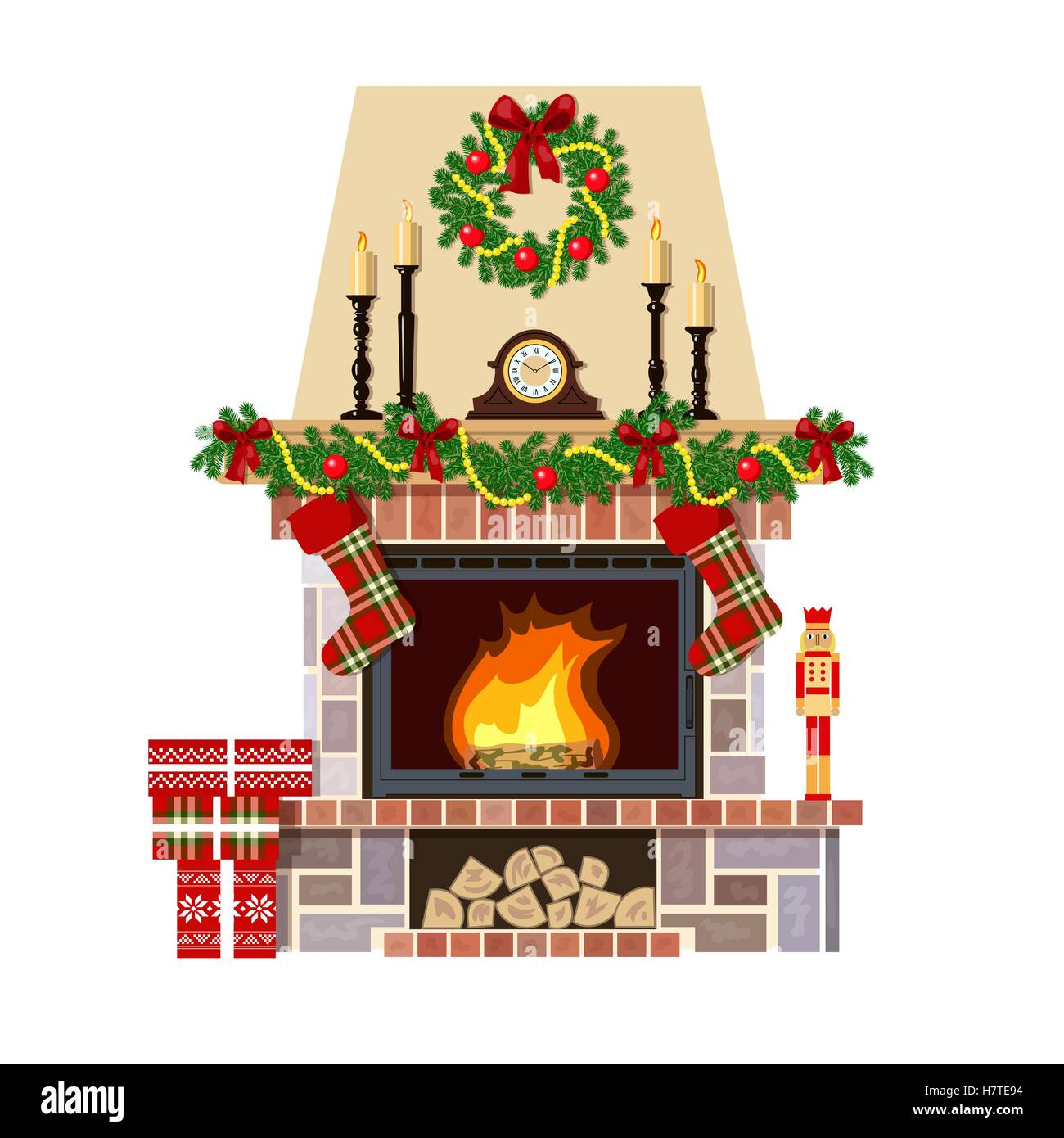 Christmas fireplace. Xmas decoreated room - Stock Vector