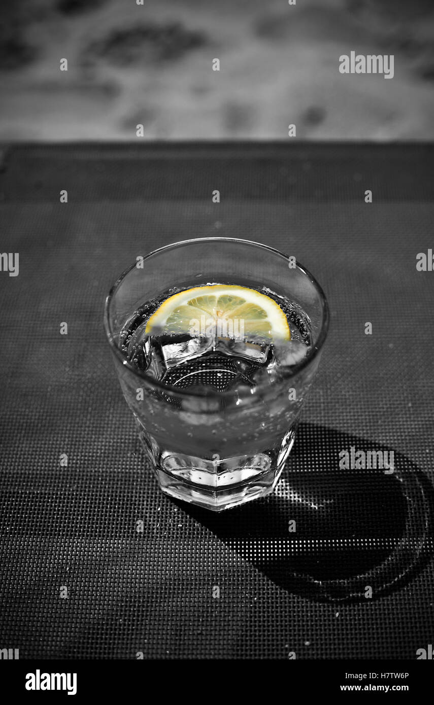 Cool Soda, Water, Tonic or Votka with Lemon and Ice, black and white tones - Stock Image