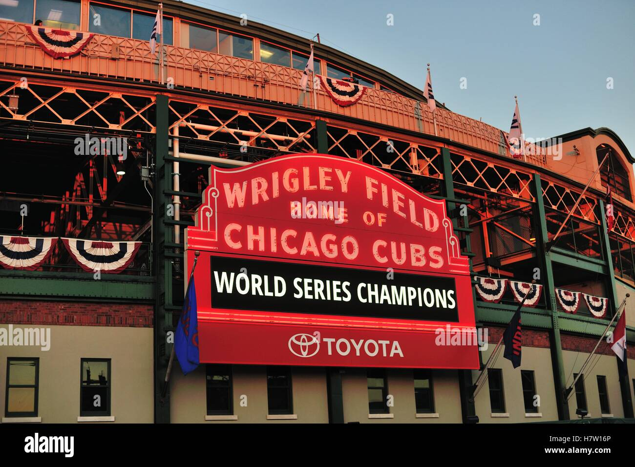 An exceedingly long wait was finally over as the Chicago Cubs won the World Series for the first time since 1908. - Stock Image