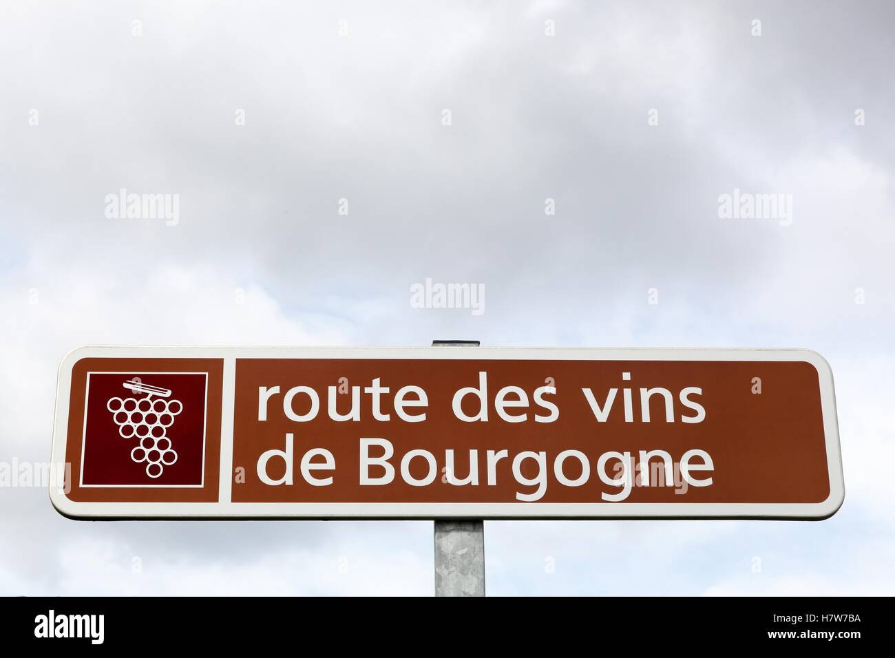 Road of Bourgogne wine sign, France - Stock Image