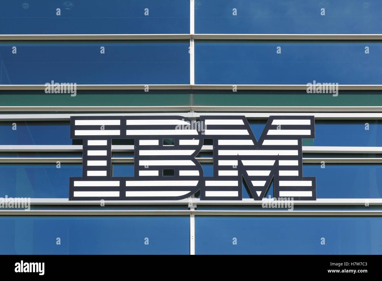 IBM logo on a wall - Stock Image