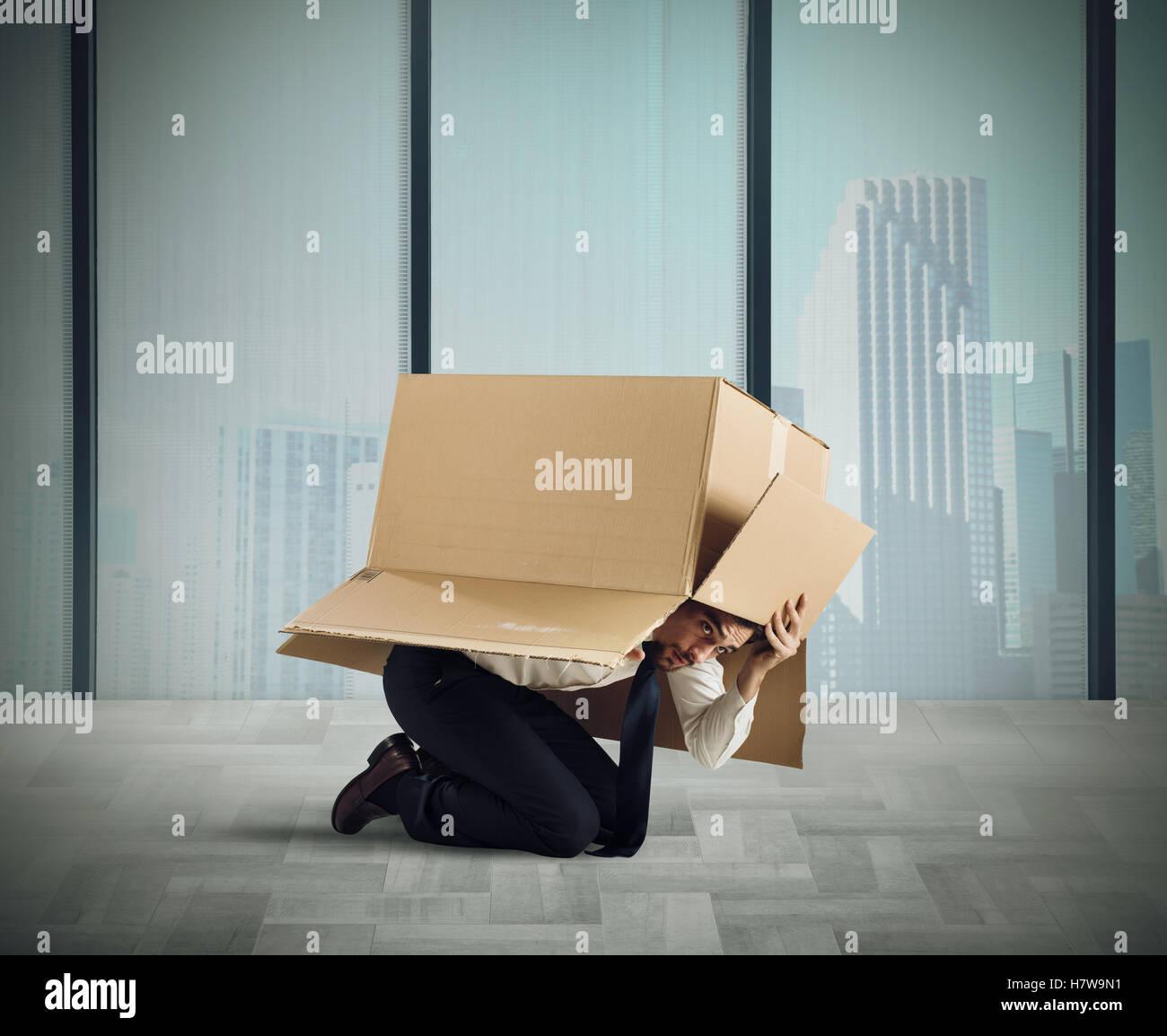 Afraid businessman - Stock Image