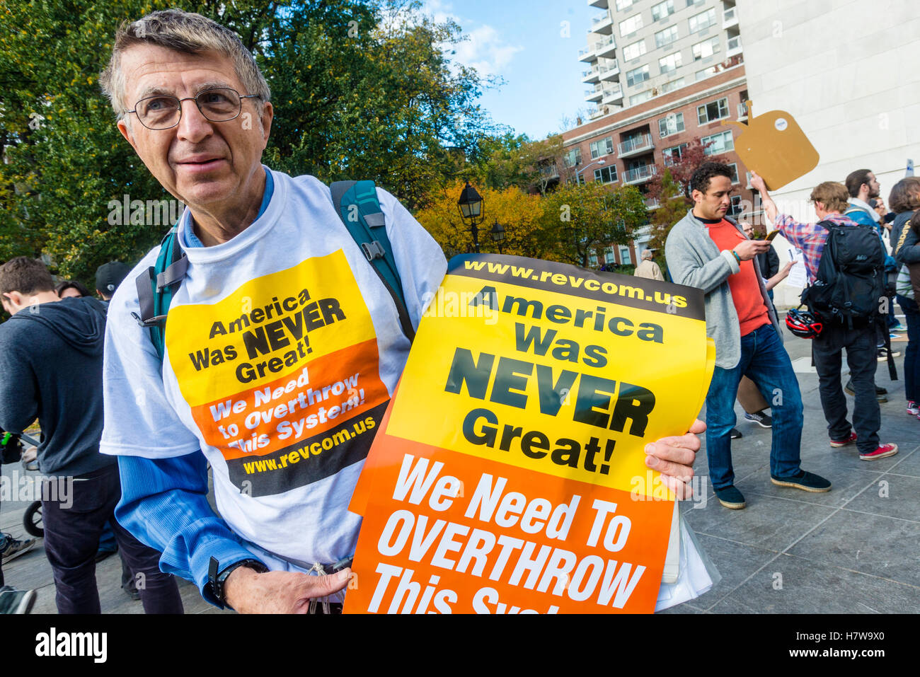 New York, USA - 6 November 2016 = In response to Trump's campaign motto, Make America Great Again' Socialists - Stock Image