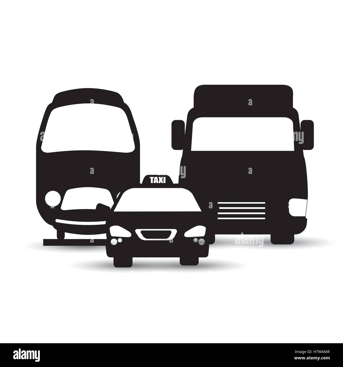 collection silhouettes cars transport service vector illustration eps 10 - Stock Image
