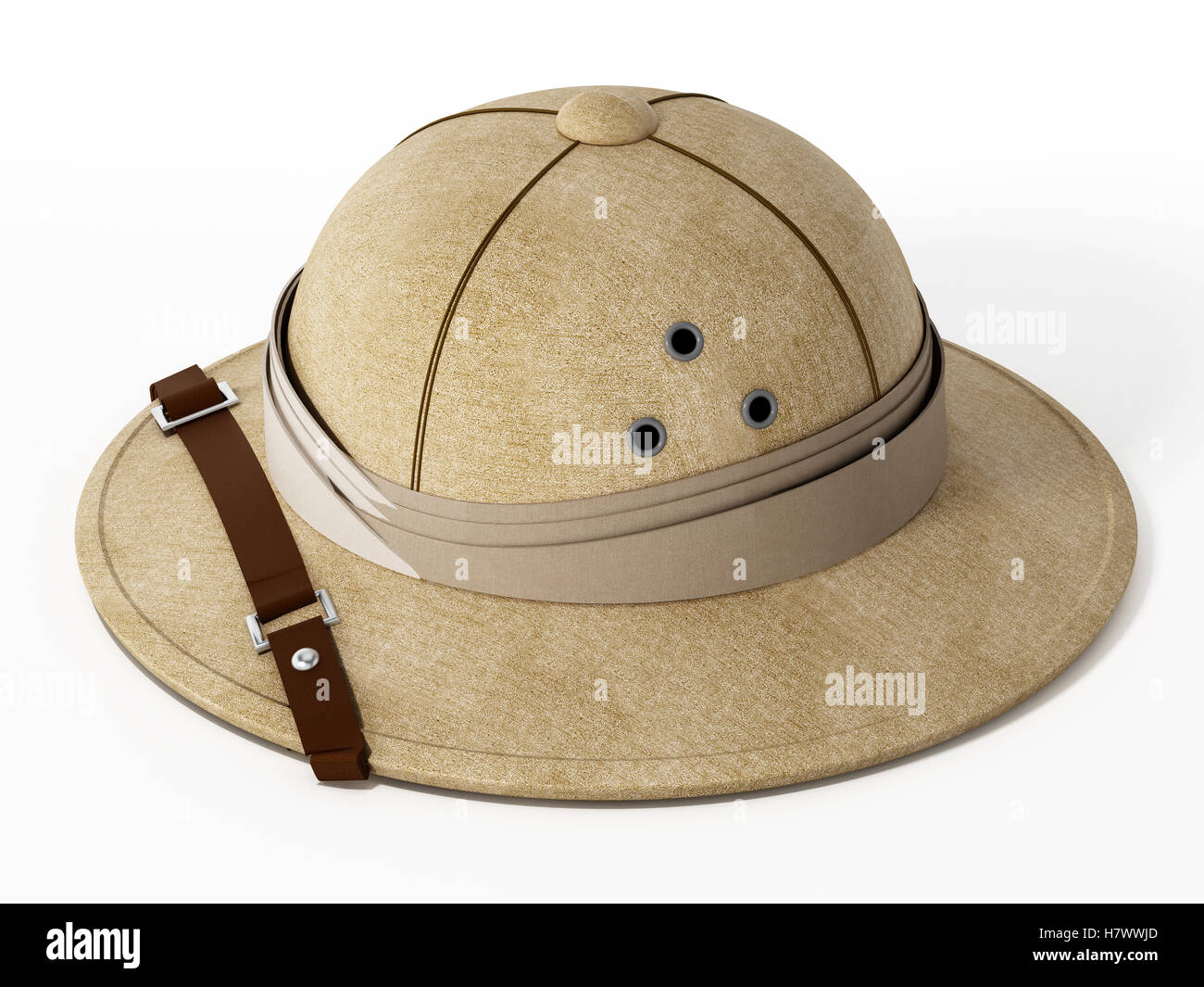 67bea9c4fbf9a Vintage explorer hat isolated on white background. 3D illustration ...