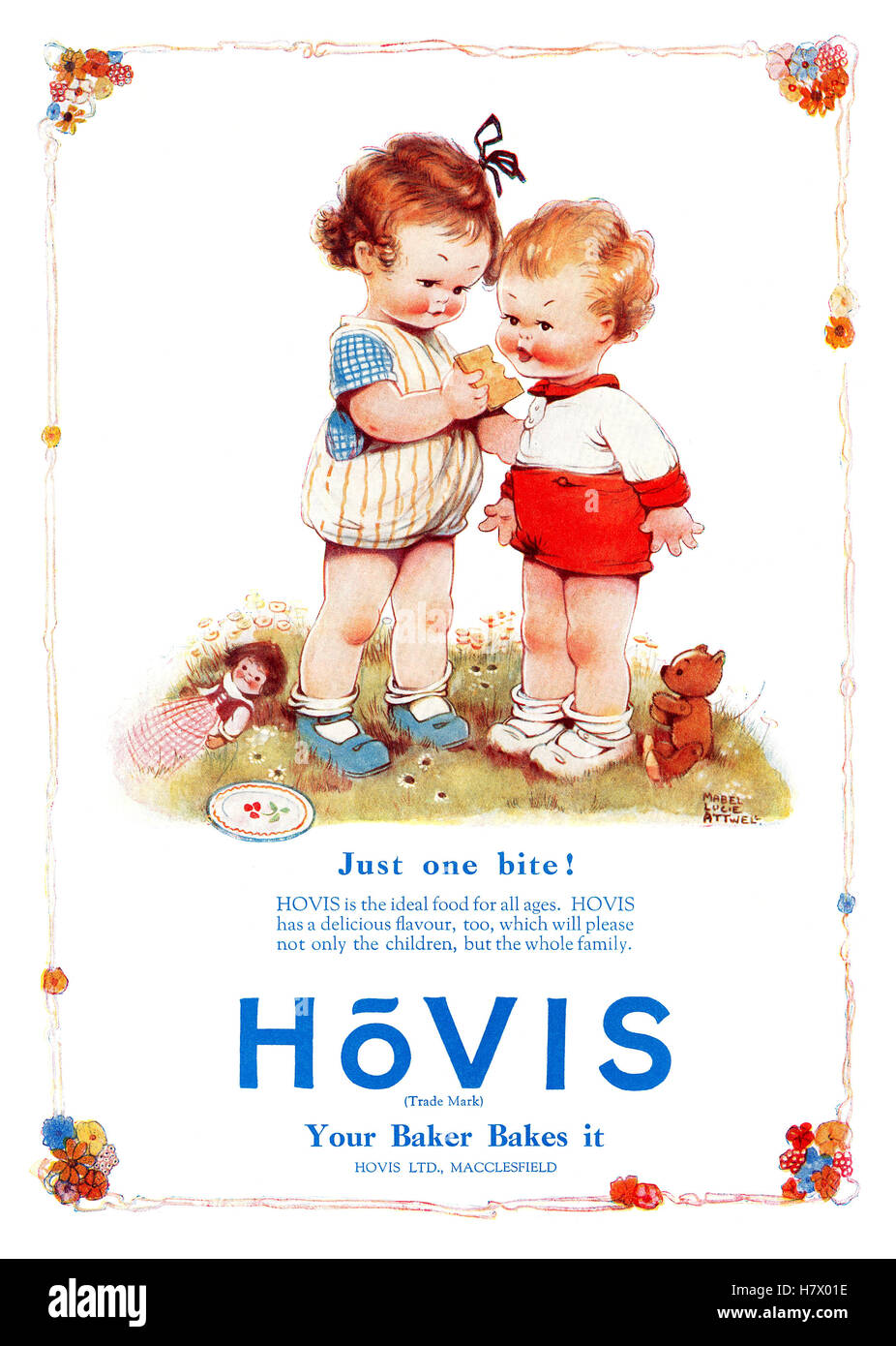 1926 British advertisement for Hovis bread with an illustration by Mabel Lucie Attwell - Stock Image