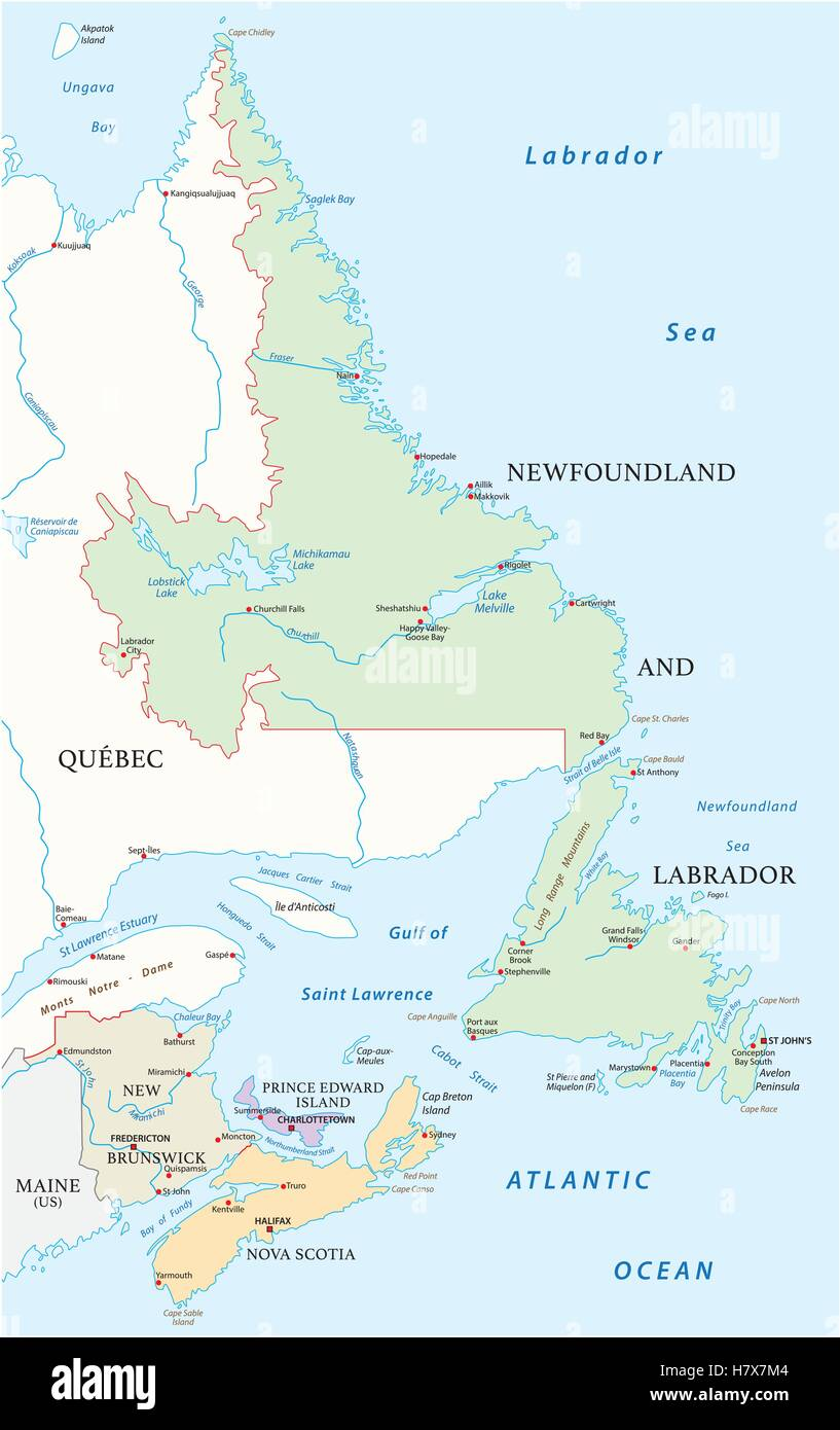 Map Provinces Of Canada.Map Of The Four Canada Atlantic Provinces Stock Vector Art