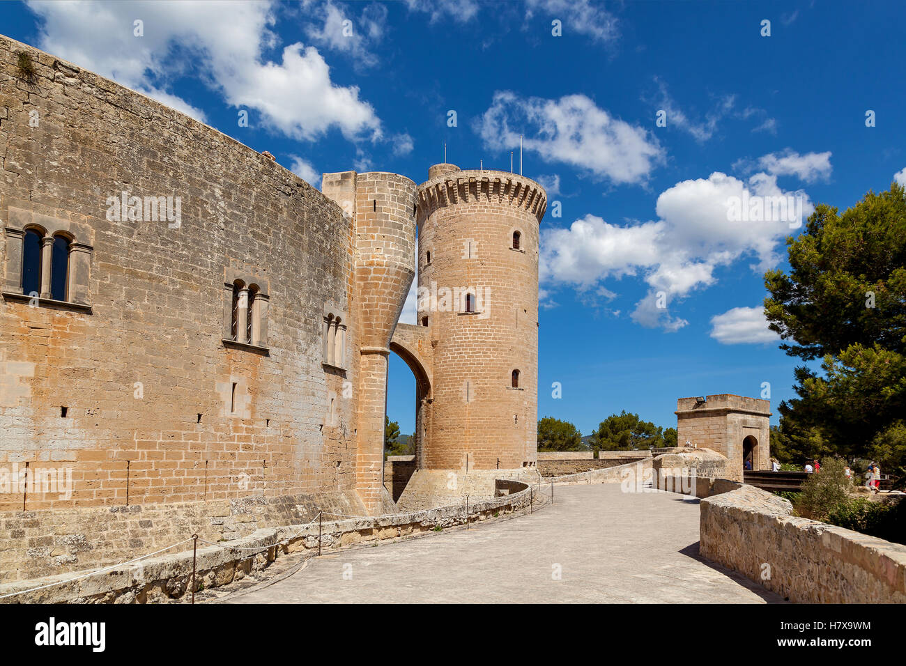 Bellver Castle is a Gothic style castle on a hill 3 km to the west of the center of Palma on the Island of Mallorca, - Stock Image
