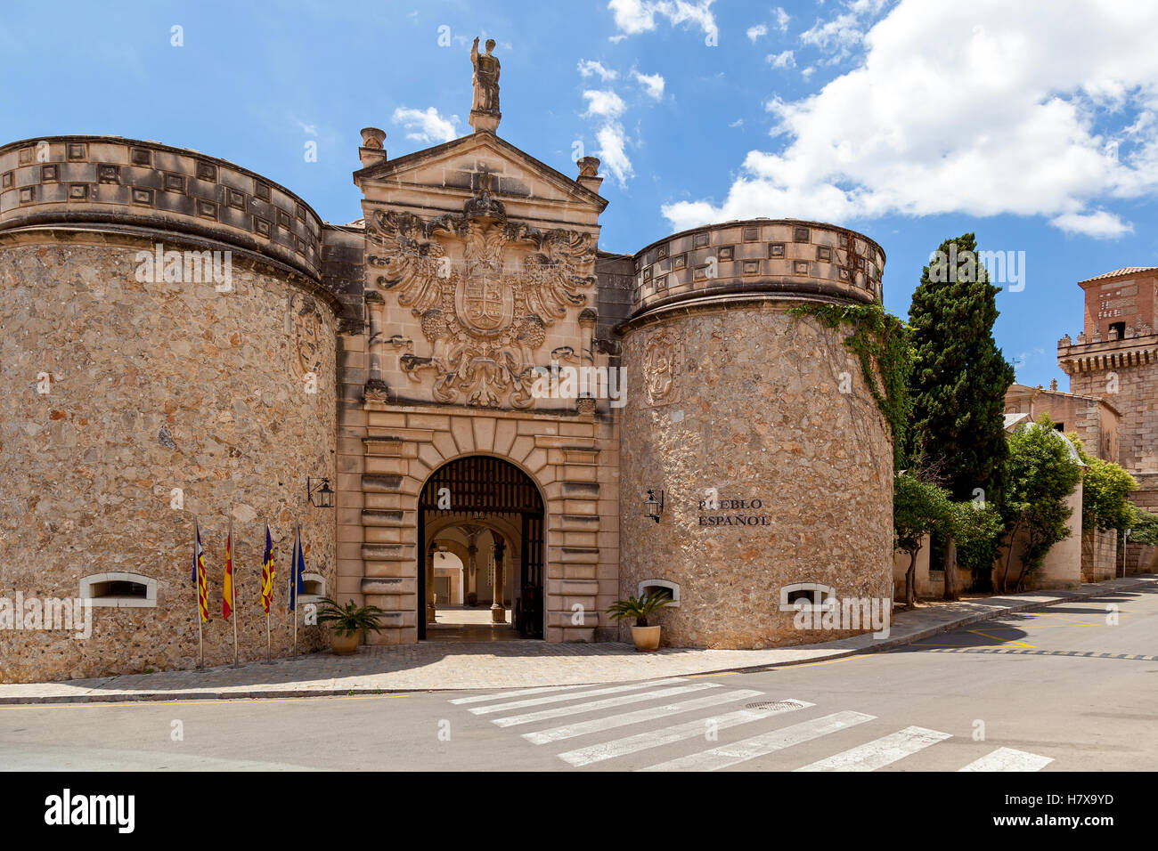 Pable Espanol  Spanish village an open-air museum in Palma de Mallorca. It located in the district of Son Espanolet. - Stock Image