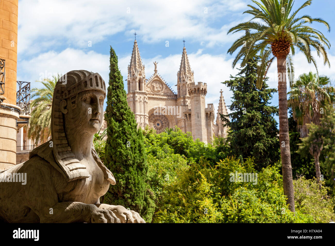 Cathedral of Santa Maria in Palma. Statue of the Sphinx in the background of the Cathedral of Santa Maria in the - Stock Image
