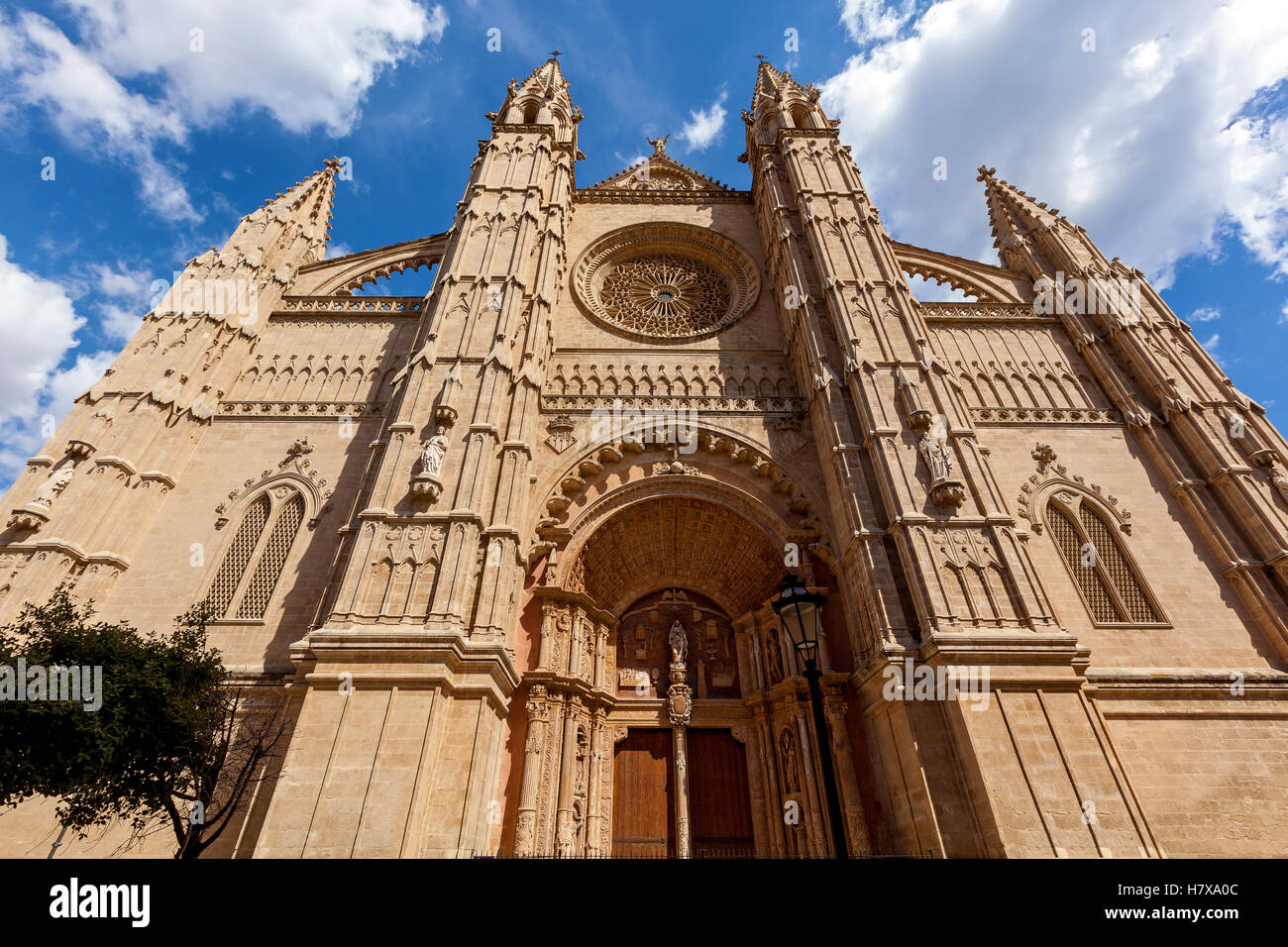The Cathedral of Santa Maria of Palma, also La Seu is a Gothic Roman Catholic cathedral located in Palma, Mallorca, Spain. Stock Photo