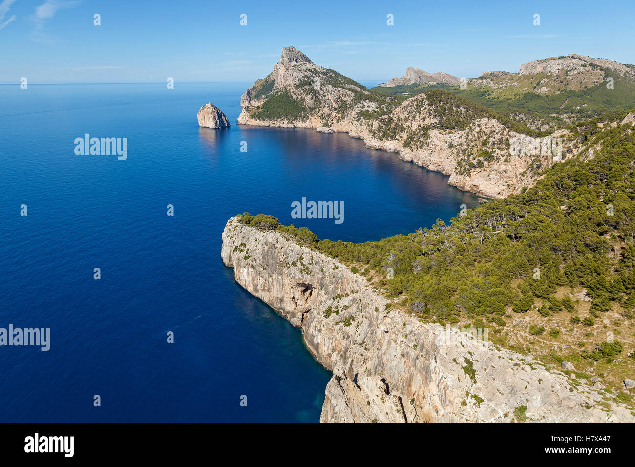 Cape Formentor on the north of Mallorca, one of the most beautiful islands of Spain. From the cape offers a great - Stock Image