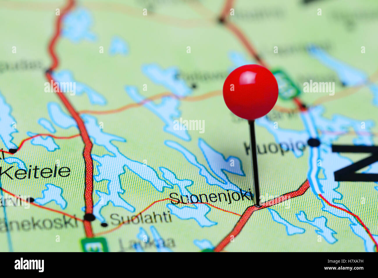 Suonenjoki pinned on a map of Finland - Stock Image
