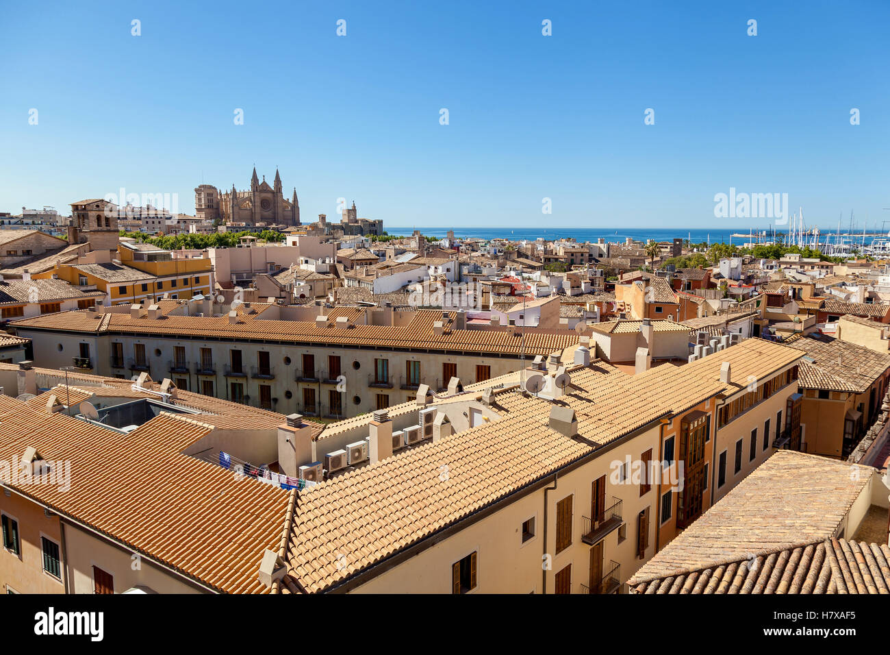 View of Palma de Mallorca. Wiew of Palma de Mallorca from the roof of one of the houses of the seaside town. In - Stock Image