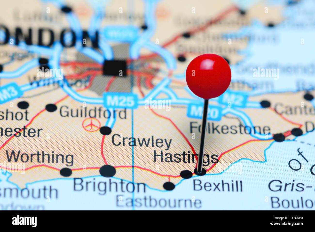 Hastings Pinned On A Map Of Uk Stock Photo 125354376 Alamy
