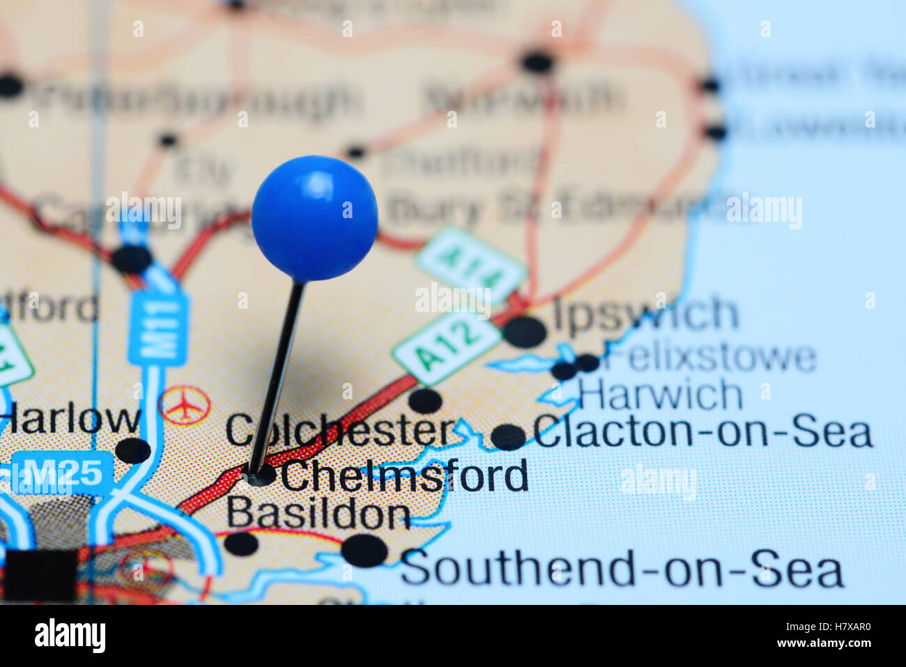 Chelmsford pinned on a map of UK - Stock Image
