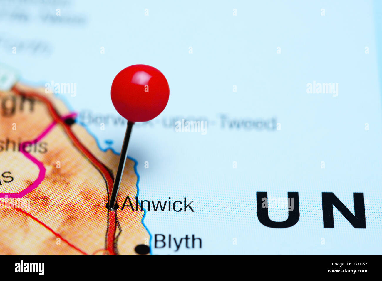 Alnwick pinned on a map of UK - Stock Image