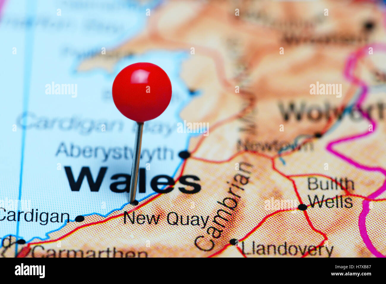 New Quay pinned on a map of Wales - Stock Image