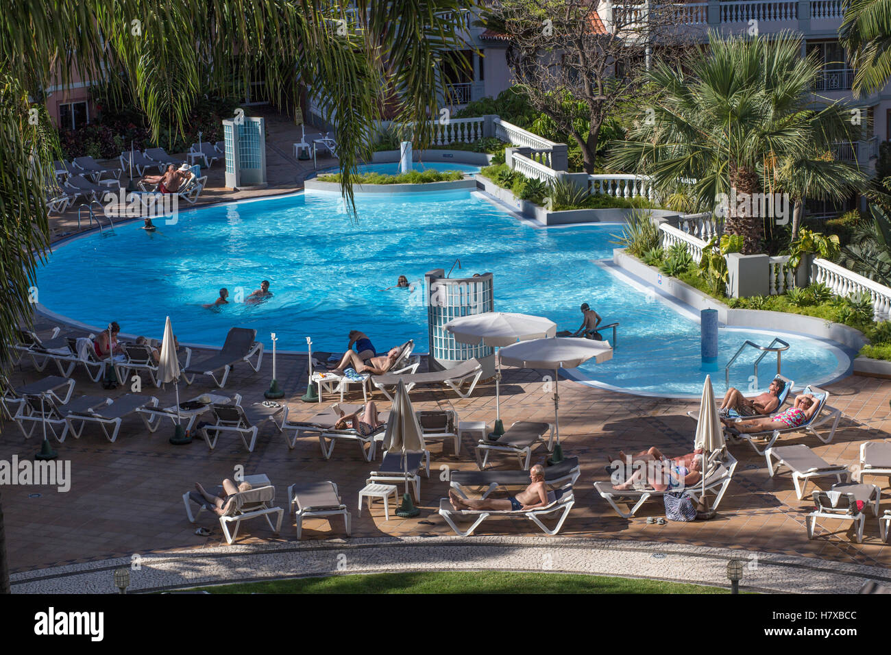 Swimming Pool and apartments at Pestana Village in Funchal, Madeira - Stock Image