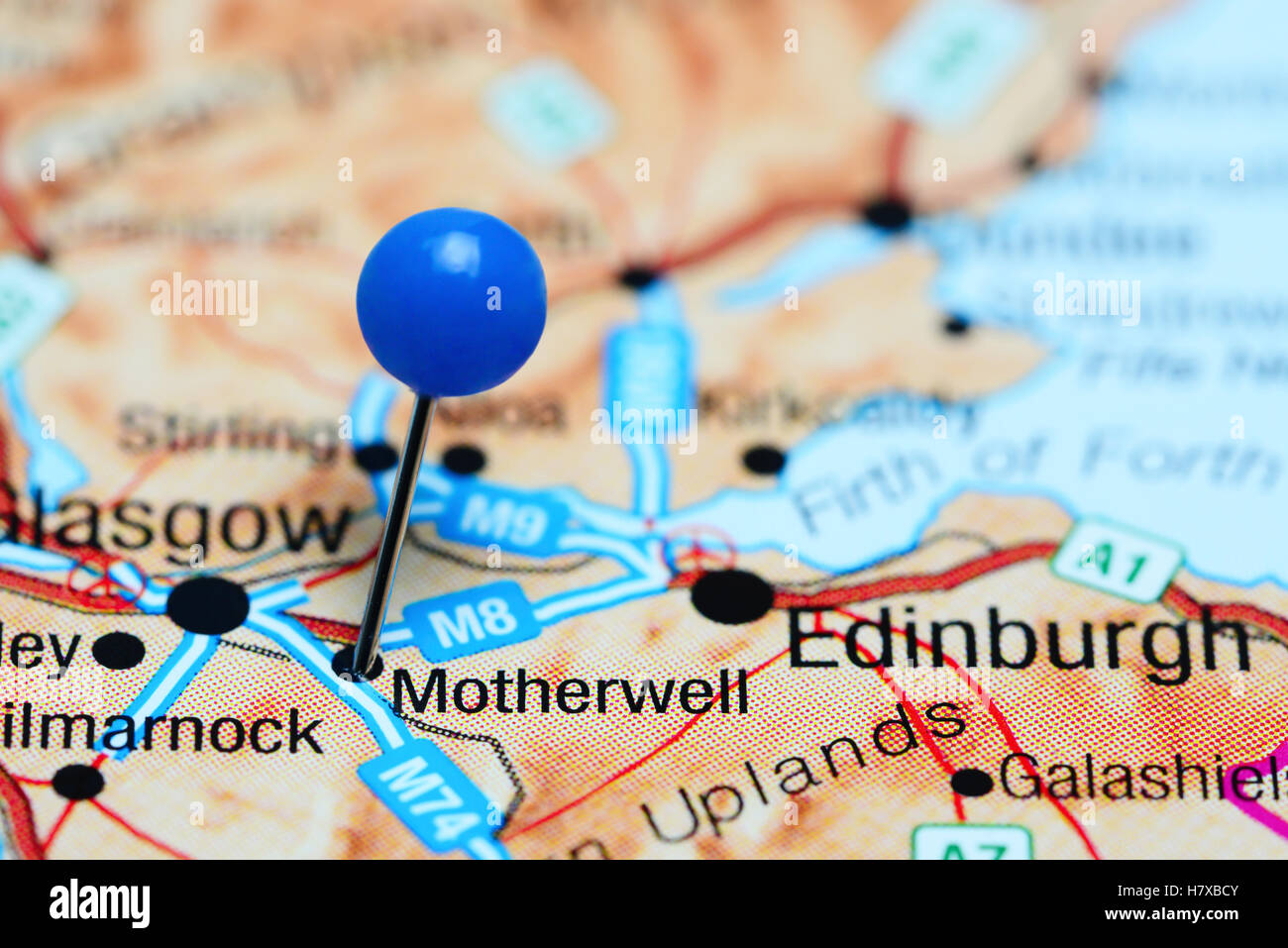 Motherwell pinned on a map of Scotland Stock Photo