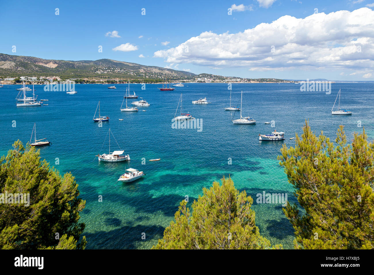 Azure harbor with lots of sailers and cutters rock on the waves transparent. Dangling a massive cloud over the mountains - Stock Image
