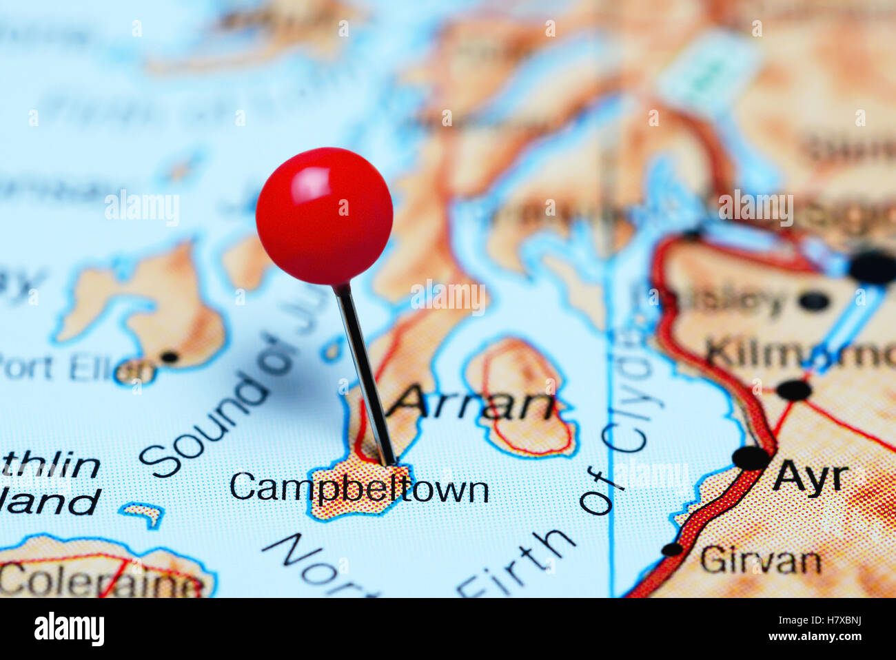Campbeltown Scotland Map.Campbeltown Pinned On A Map Of Scotland Stock Photo 125355150 Alamy