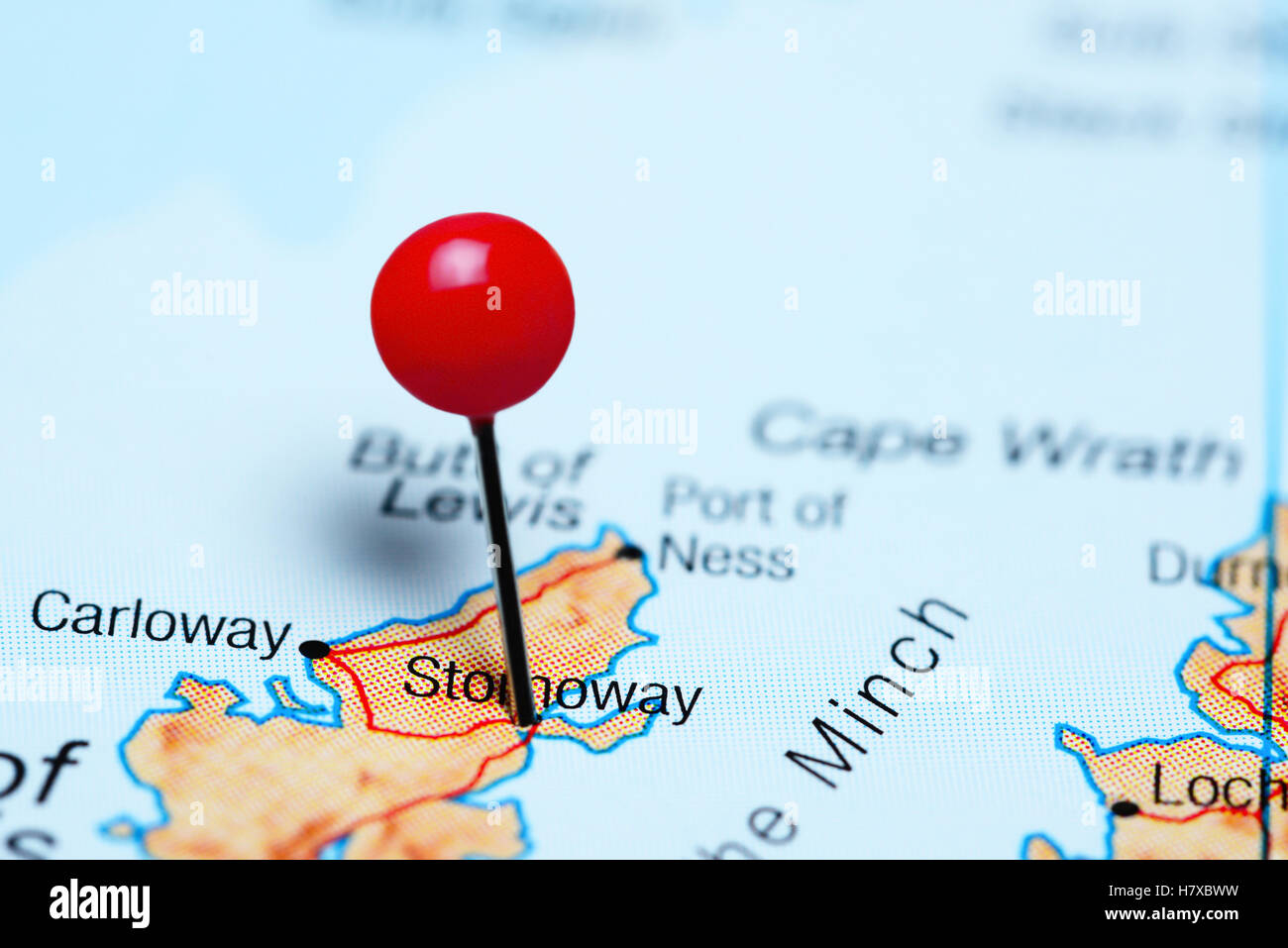 Stornoway pinned on a map of Scotland - Stock Image