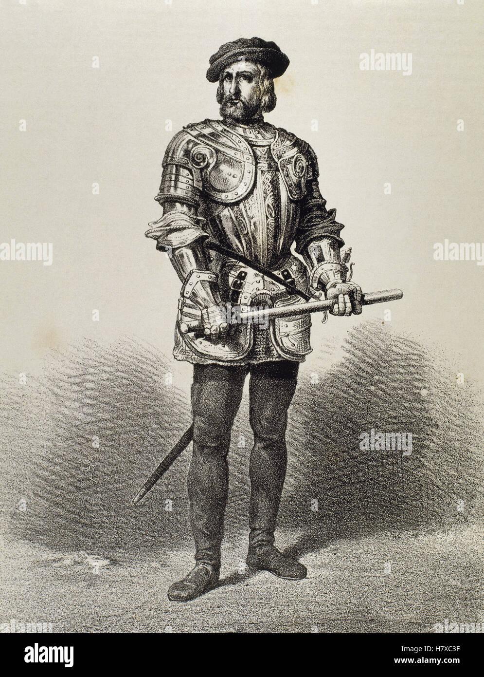Hernan Cortes (1488-1547). Spanish conqueror of Mexico.  Portrait. Engraving - Stock Image