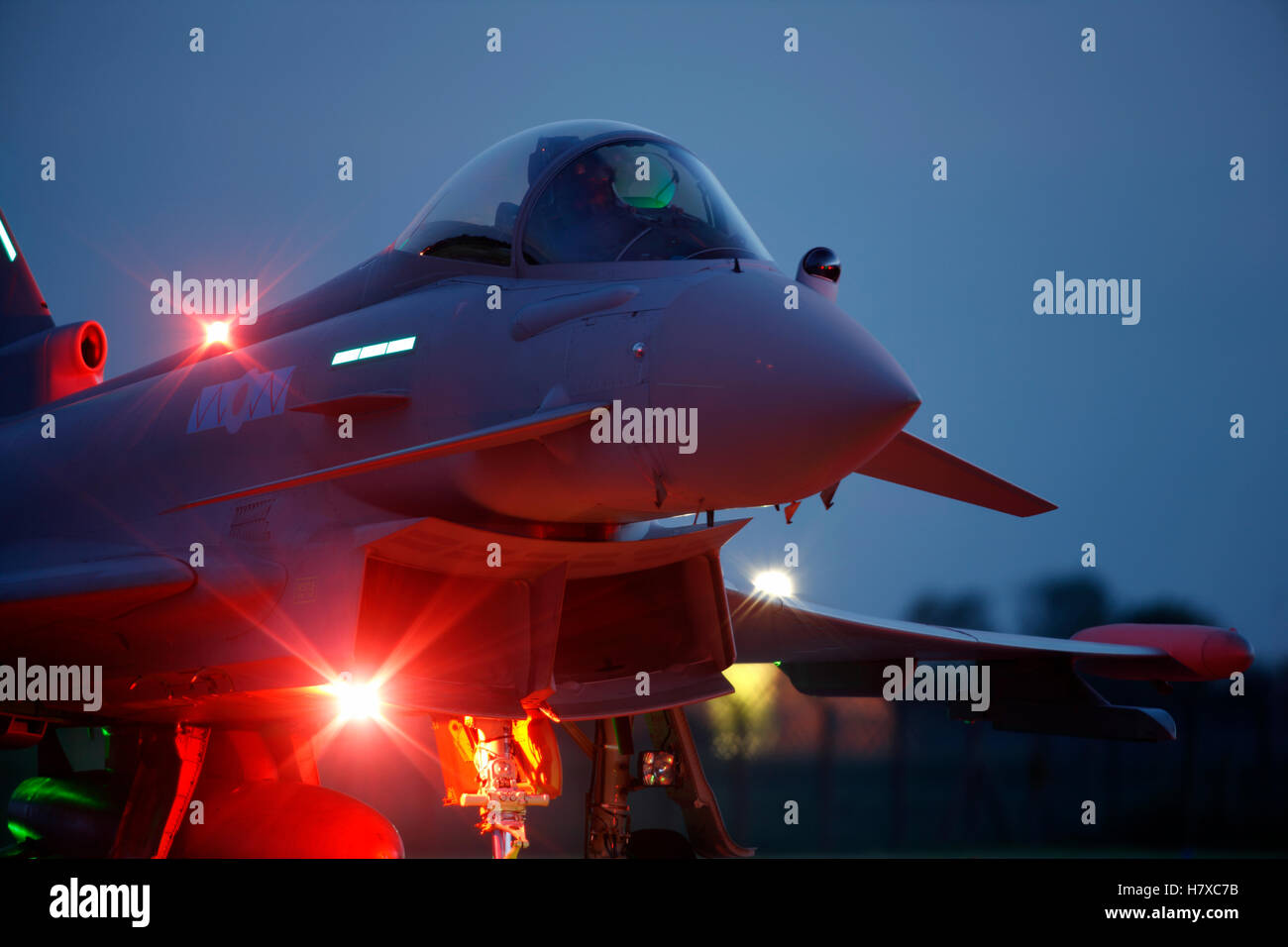 Royal Air Force Eurofighter Typhoon aircraft operating at night at RAF Coningsby in Lincolnshire - Stock Image