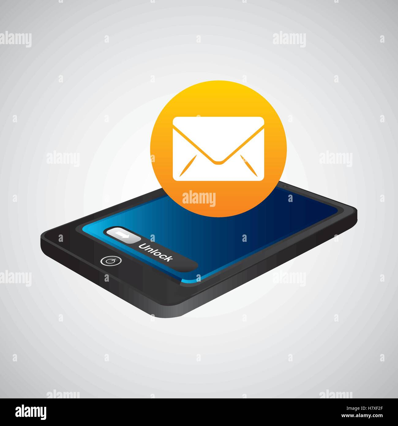 smartphone blue screen unlock icon email vector illustration eps 10 - Stock Vector