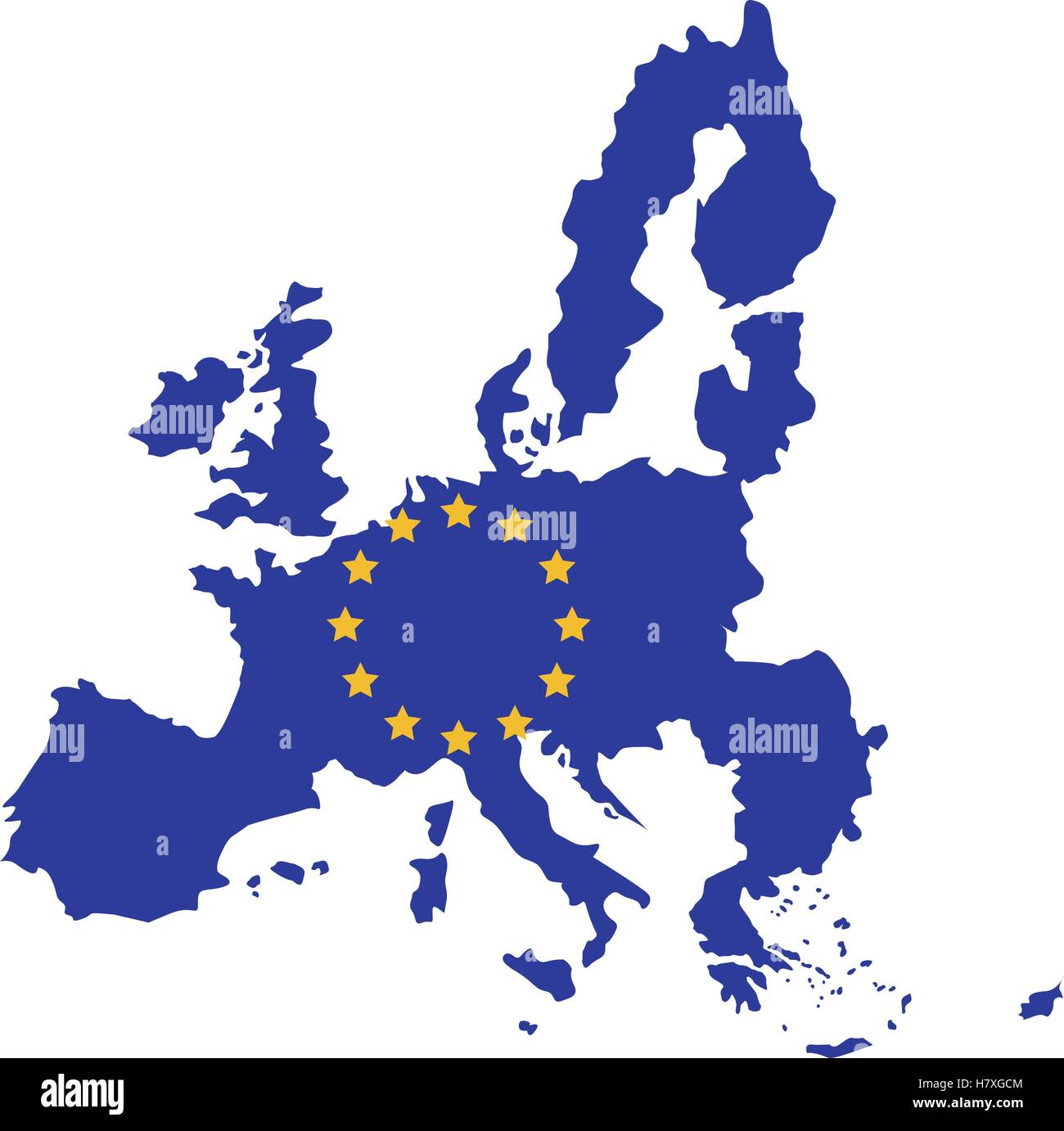 European union map icon. Europe eu country national and politics theme. Isolated design. Vector illustration - Stock Image