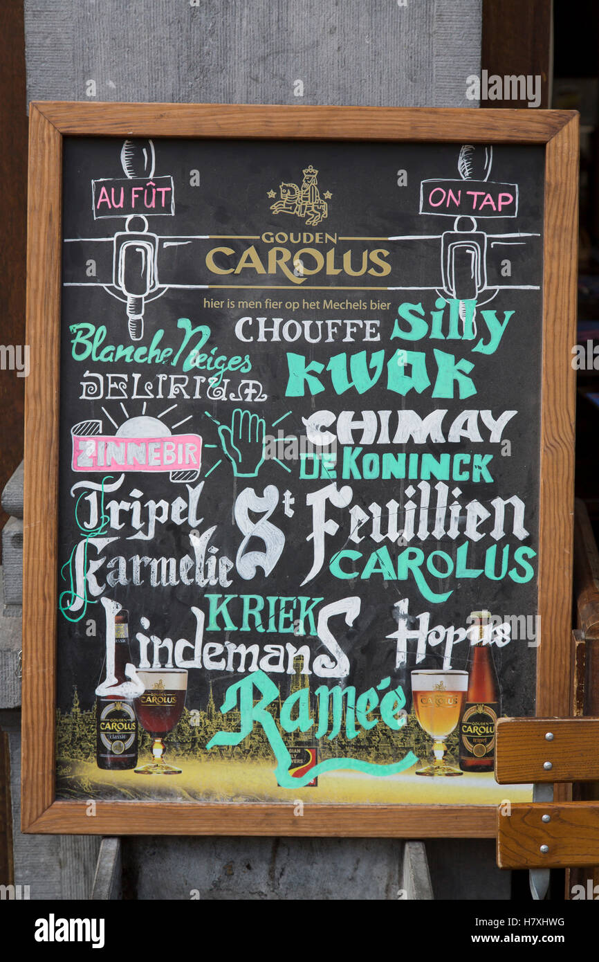 Brussels, Belgium, pub sign with a large selection of beers, typical Belgian pub, brand names, - Stock Image