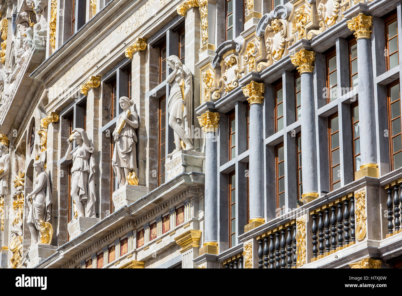Facades of historic houses at the market square, Oude Markt, Grand Place, in the old town of Brussels, Belgium, - Stock Image