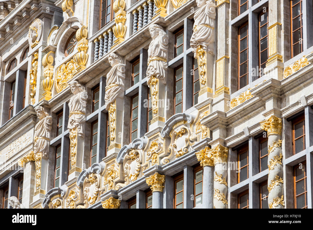Facades of historic houses at the market square, Oude Markt, Grand Place, in the old town of Brussels, Belgium, Stock Photo