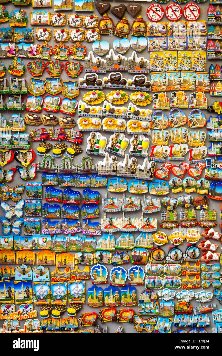 Brussels, Belgium, souvenir shop, many magnets with Brussels motifs, travel, - Stock Image